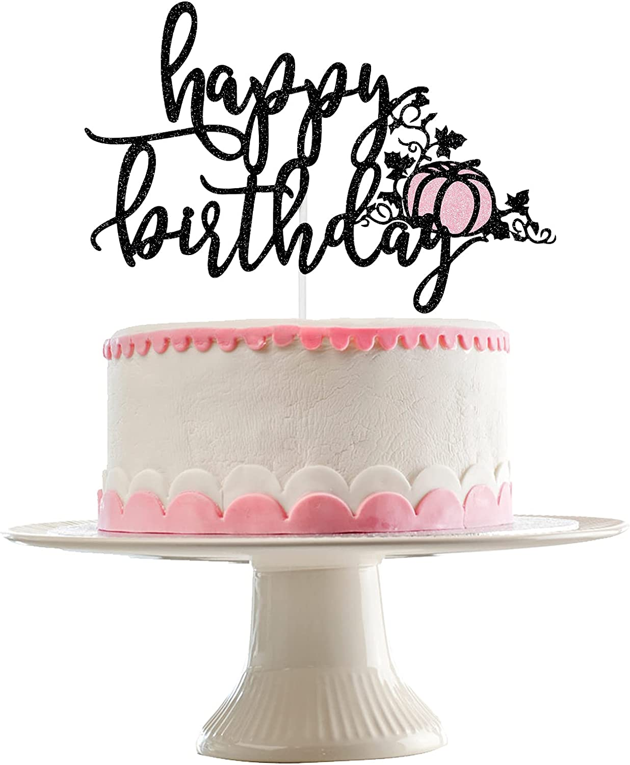 Halloween Happy Birthday Cake Topper Black and Pink Glitter- Pink and Black Halloween Decorations,Pumpkin Cake Decor,Pumpkin Birthday Cake Topper,Halloween Birthday Cake Decorations