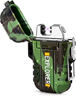 featured product Green Vivid Waterproof Flameless Electric Lighter-Dual Arc Plasma Beam Lighter-USB Rechargeable-Windproof-No Butane-Ideal Lighter for Indoor and Outdoor Activities (Camouflage)