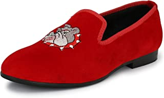EL PASO Men's Red Velvet Embroided Casual Slip On Shoes