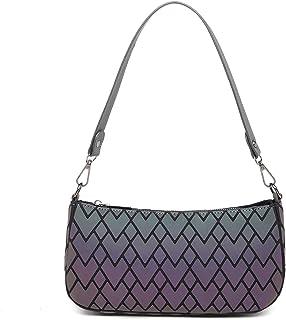Geometrische Handtaschen für Frauen, leuchtende Geldbörsen, holografisch, reflektierend, Schultertasche, Unterarm-Geldbörs...