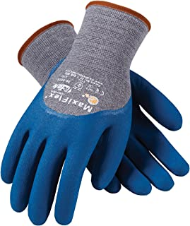 MaxiFlex Comfort 34-9025/S Seamless Knit Cotton/Nylon/Lycra Glove with Nitrile Coated Micro-Foam Grip on Palm, Fingers and Knuckles