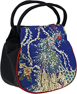 MagiDeal Women Peafowl Embroidery Ethnic Canvas Handbag Purse Case Phone Bag Holder Change Cion Card Stand