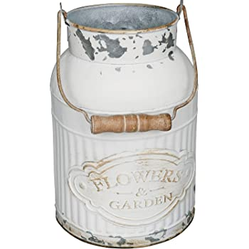 Vintiquewise Qi003454 L Rustic Farmhouse Style Galvanized Metal Milk Can Decoration Planter And Vase Grey Large Vases
