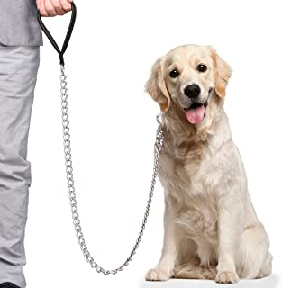 CtopoGo Premium Chain Heavy Duty Dog Leash - Soft Padded Leather Handle Lead - Perfect Basic Leashes Specifically Designed...