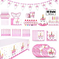 XREXS 16 Style Unicorn Birthday Party Supplies Pack