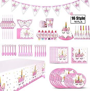 XREXS 16 Style Unicorn Birthday Party Supplies Pack