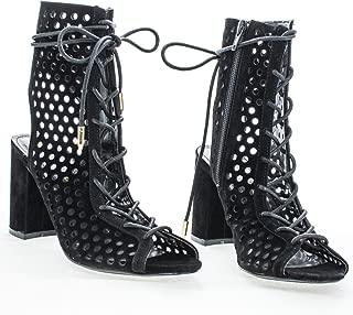 black ghillie lace up block heels