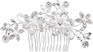 Bridal Hair Comb Wedding Hair Accessories for Brides and Bridesmaids Crystal Simulated Pearl Silver for Wedding Hair Clips for Girls and Women