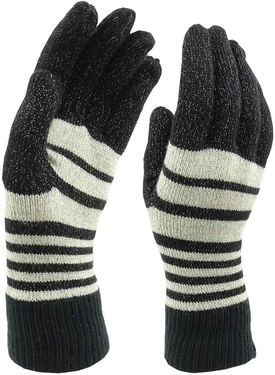 ISO Isotoner Women's Striped Black Heathered Light Weight Gloves, One Size
