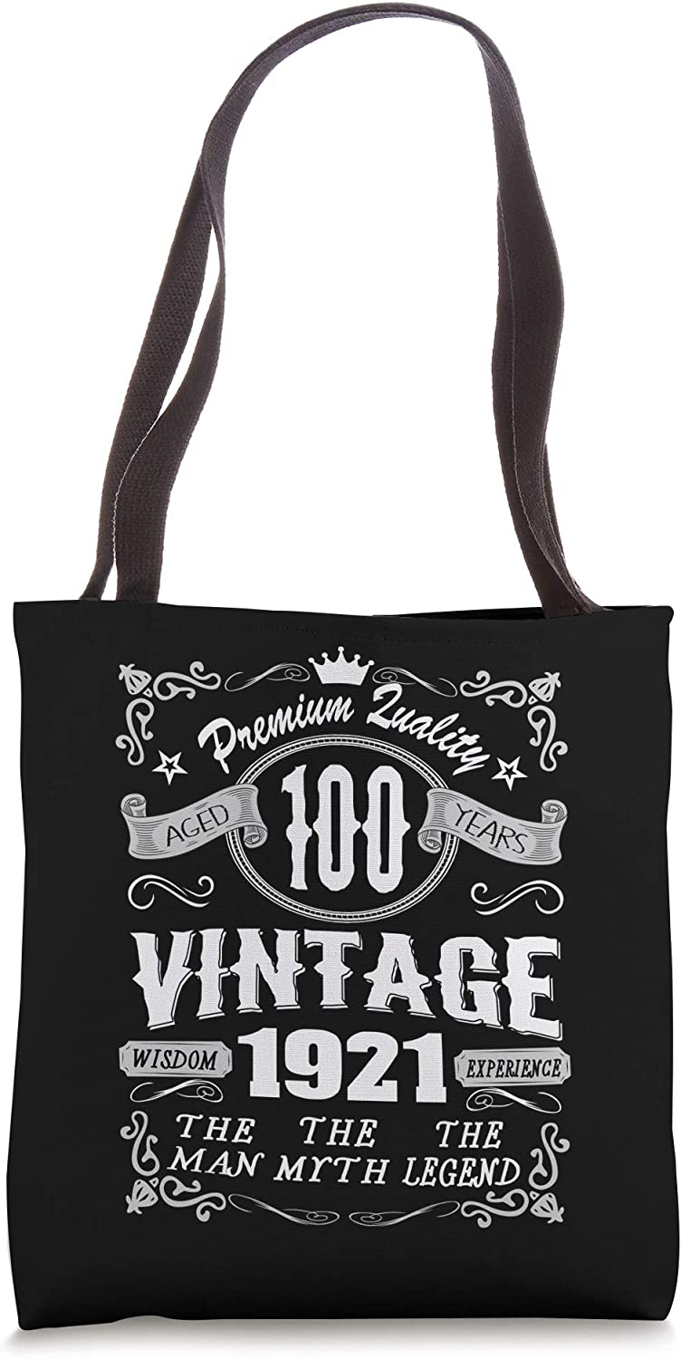 Vintage 1921 100 Years Old 100th Birthday Gift For Men Tote Bag