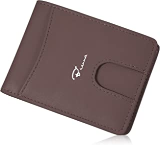 Mens Wallet,Bienna Bifold Genuine Leather Wallets Card Case Slim Minimalist Front Pocket with ID Window for Men Women