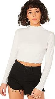 SweatyRocks Women's Knit Mock Neck Lettuce Solid Long Sleeve T Shirt Crop Top