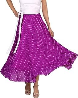 Indian Dresses Store DeeVineeTi Women's Blended Georgette Polka Dot Long Wrap-Around Skirt (WA000165, Purple, Freesize)