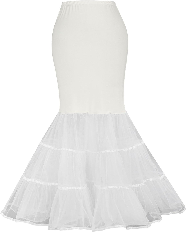 GRACE KARIN Women's Mermaid Fishtail Crinoline Petticoat Floor Length Wedding Underskirt