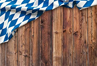 CSFOTO 7x5ft Background for Oktoberfest Bavarian Flag on Wooden Photography Backdrop Chequered Beer Spree Party Decor Flag Cloth Forest Tradition Celebration Photo Studio Props Polyester Wallpaper