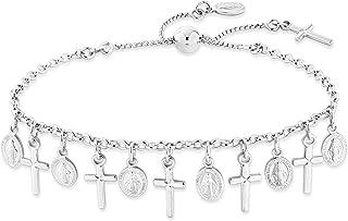 925 Sterling Silver Italian Adjustable Bolo Dangle Rosary Cross Charm Chain Bracelet for Women Teen Girls Made in Italy