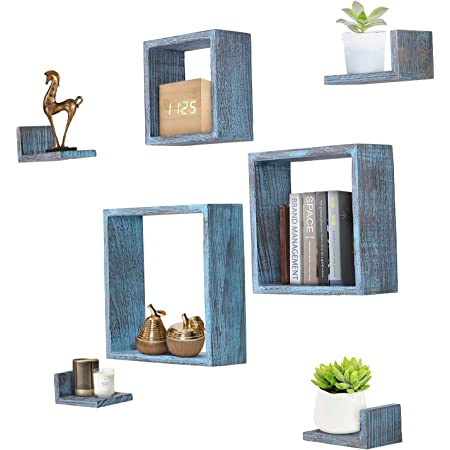 Rustic Wall Mounted Square Shaped Floating Shelves – Set of 7 – 3 Square Shelves and 4 L-Shaped Rustic Shelves – Screws and Anchors Included – Rustic Wall Décor - Rustic Blue