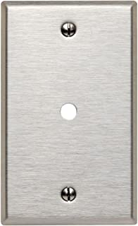 Leviton 84013 003-000 Standard Size Telephone/Cable Wall Plate, 1 Gang, 4-1/2 In L X 2-3/4 In W 0.187 In T, Brushed.312""