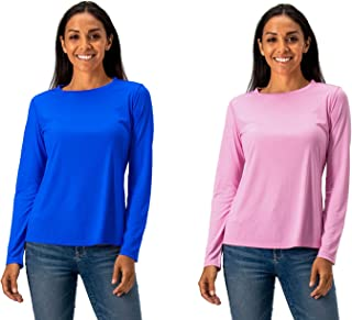 DEVOPS Women's 2-Pack UPF 50+ Long Sleeve Sun Protection Quick Dry T-Shirts for Running Workout
