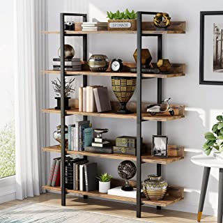Bookshelf Bookcase Storage Rack Standing Shelf 5-Tier Industrial Stable Bookcase with Iron Tube Frame for Home, Living Roo...