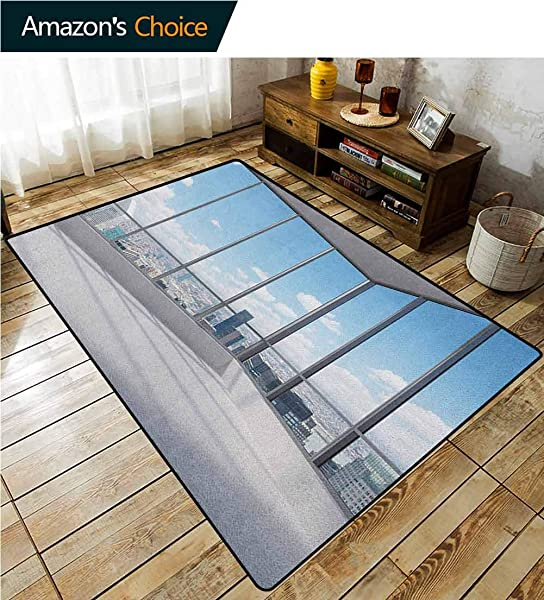 Modern Plaid Area Rug Cityscape Office With Big Windows Clear Sunny Sky View Photograph Print Durable Carpet Area Rug Living Dinning Room Bedroom Rugs And Carpets 2 5 X 9 Sky Blue Grey And White