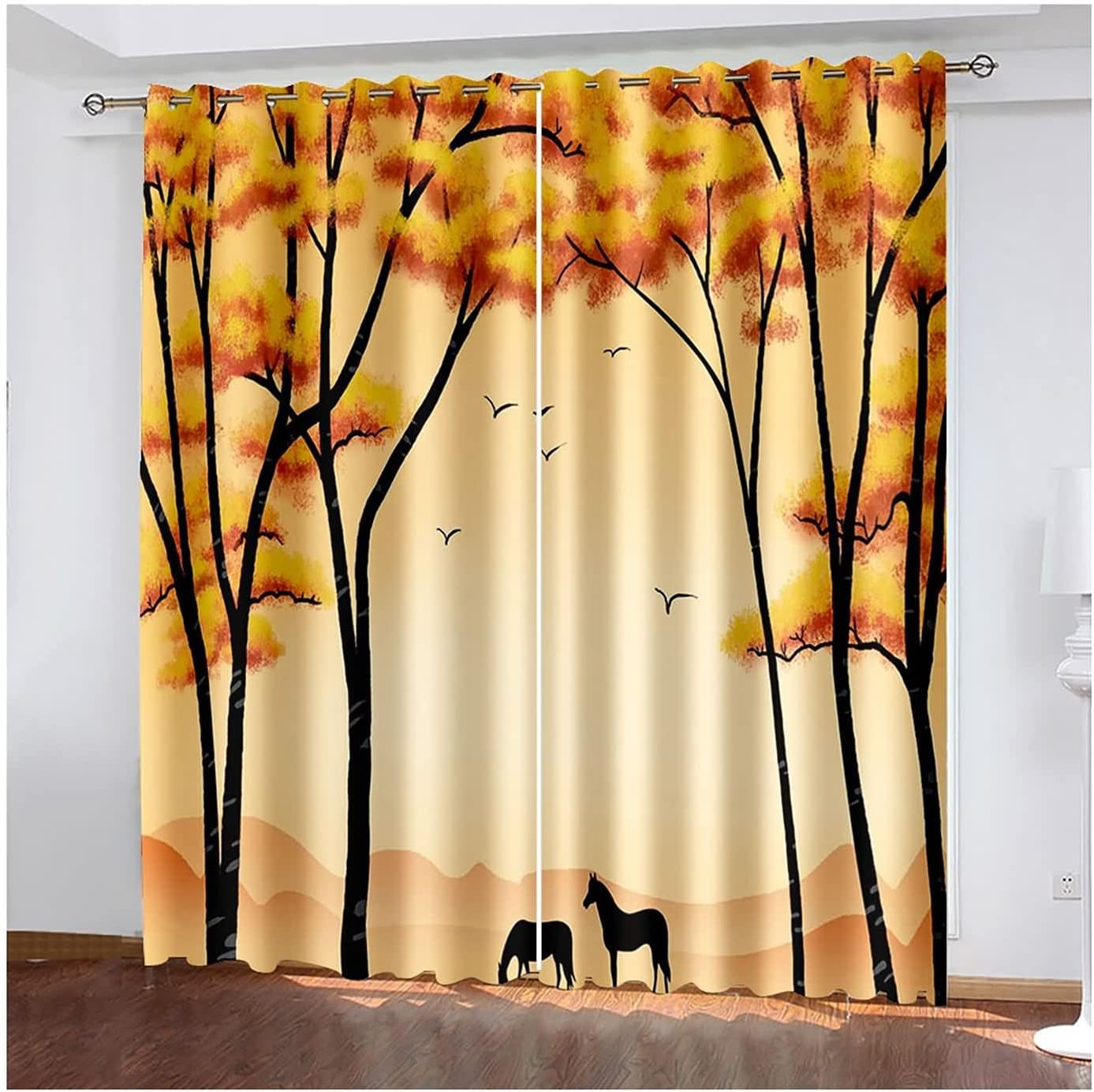 Blackout Curtains Max 87% OFF 2 Panels for San Jose Mall Design Horses Bedroom T