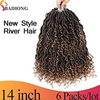 (14 inch, T27#, 24 Roots,80g/pack) BaiHong Ombre Curly Faux Locs Crochet Hair Extensions with Water Wave Passion Twist Synthetic Braiding Hair (14 inch, T27#)