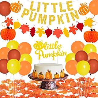 Little Pumpkin Party Decorations for 1st Birthday Pumpkin Themed Party Supplies for Baby Shower with Banner Cake Topper Ma...