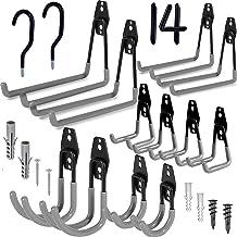 Garage Hooks, 14 Pack Wall Mount Utility Hooks Heavy Duty Steel Garage Storage Hooks Double Hangers with Bike Hooks for Or...
