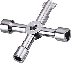 Llave de Utilidad Multifuncional 4-Puntas para Abrir Eléctrico Medidor de Gas y Agua Alacena Gabinete (Plateado)