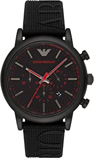 Men's Luigi Stainless Steel Analog-Quartz Watch with Silicone Strap, Black, 14 (Model: AR11024)