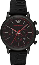 Emporio Armani Men's Luigi Stainless Steel Analog-Quartz Watch with Silicone Strap, Black, 14 (Model: AR11024)