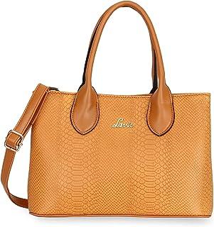 LAVIE Zipper PU Womens Casual Satchel Handbag (S21LVFOC4995SAT001, OCHRE, MEDIUM)