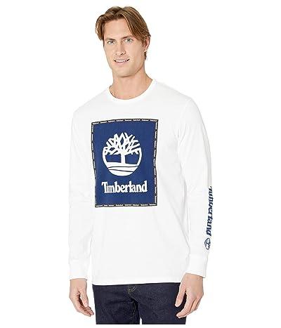Timberland Long Sleeve Box Logo Graphic Tee (White) Men