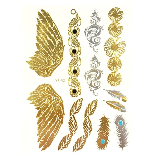 5c261240d Wrapables Celebrity Inspired Temporary Tattoos in Metallic Gold Silver and  Black, Large, Angel Wings