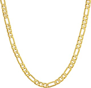 4mm Figaro Chain Necklace 24k Gold Plated for Men Women & Teen with Free Lifetime Replacement Guarantee