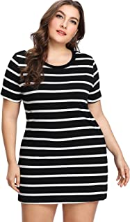 Floerns Women's Plus Size Short Sleeve Striped Ribbed Dress