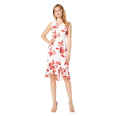 eci Sleeveless Floral Burnout Fit and Flare Dress (White/Red) Women