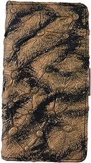 【Happy Smile】 STREAM S 302HW ワイモバイル 手帳型 スマホ ケース カバー 本革 豚革 横 ブラウン ブラック 模様 柄もの 保護フィルム付