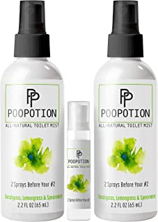 PooPotion All-Natural Toilet Mist Spray, 2 Sprays Before Your #2, Bonus Pack Original
