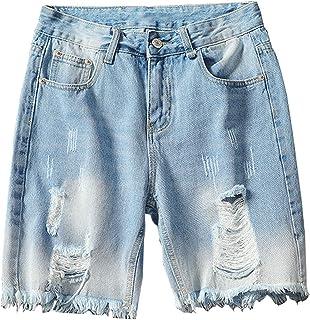 bfd307daa9 Kongsta Men Fashion Ripped Short Jeans Denim Shorts for Man Plus Size M-5XL  Washed