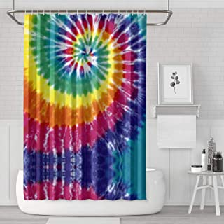 Unicorns Farting Tie Dye Wallpaper Rainbow Print Shower Curtain Durable Afrocentric Style Home Decoration Polyester Fabric Shower Waterproof Curtain Bath Accessories,70.8x70.8in