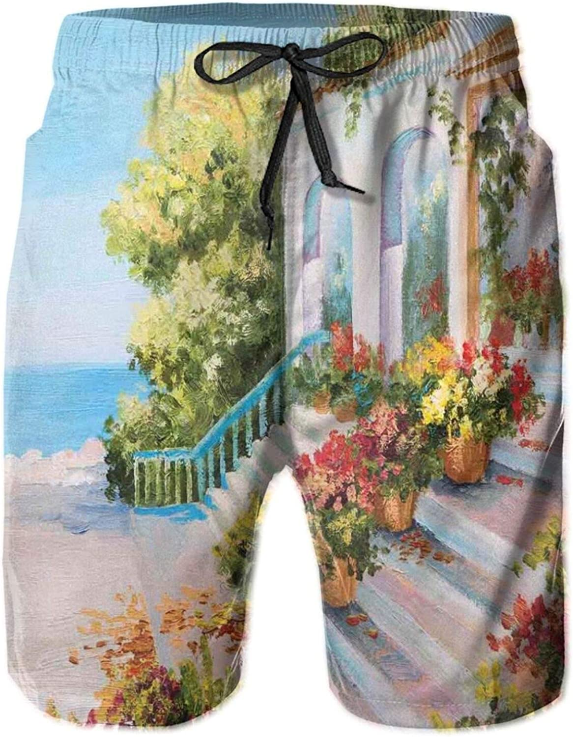 Sea View from The Terrace of A Retro House Art Flowers Old Stairs Mens Swim Trucks Shorts with Mesh Lining,M