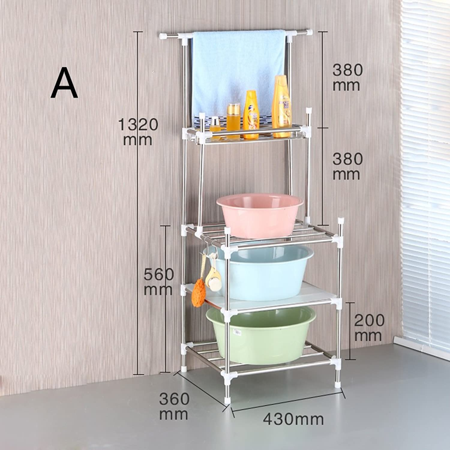 Stainless Bathroom Shelf Bathroom Multi-Function Storage Rack(3colors) (color   A)