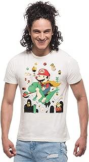THREADCURRY Super Mario & The Green Barney | Mario Comic Adventure Cotton Printed Creative Tshirt for Men
