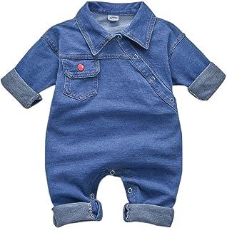T TALENTBABY Kleinkind Neugeborenes Jungen Girs Denim Strampler Jumpsuit Infant Unisex Cowboy Outfit Kleidung Onesies Jeans Strampler Bodysuit