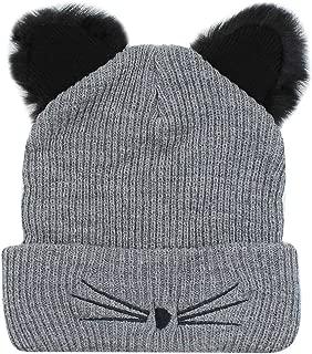 ANKOMINA Women Girls Winter Cute Cat Ear Warm Baggy Beanie Hat Knitted Slouchy Skull Cap