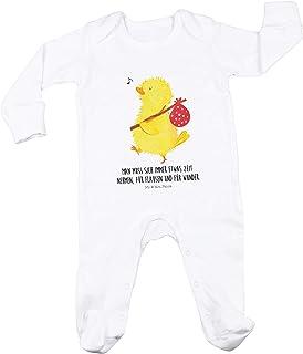 Mr. & Mrs. Panda Schlafstrampler, Spielanzug, 3-6 Monate Baby Strampler Küken Wanderer mit Spruch - Farbe Weiß