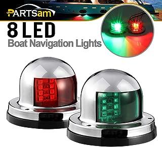 Partsam 12V Marine Boat Yacht Light LED Bow Navigation Lights Deck Mount Red Green Side Port Starboard Lights Sailing Signal Light Submersible 8 LED for Pontoons Skeeter Stainless Steel