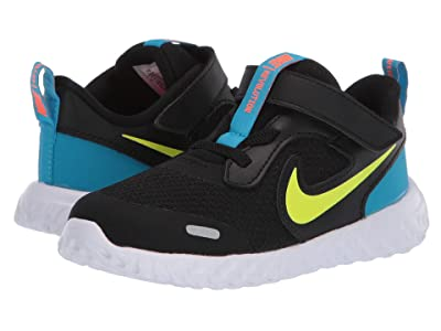 Nike Kids Revolution 5 (Infant/Toddler) (Black/Lemon Venom/Laser Blue) Boys Shoes